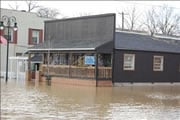 Antique store on Main Street in Grand Rapids, Ohio, in March, 2009. You should stay out of any building if it is surrounded by floodwaters.