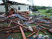 Tornado damage outside of Montgomery, Alabama. Because tornadoes often damage power lines, gas lines or electrical systems, there is a risk of fire, electrocution or an explosion.