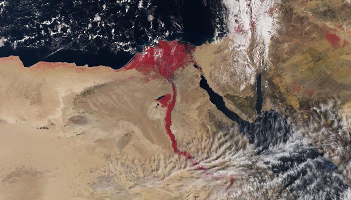 An image from outer space shows the Nile River in a blood-ride color. (Source: European Space Agency)