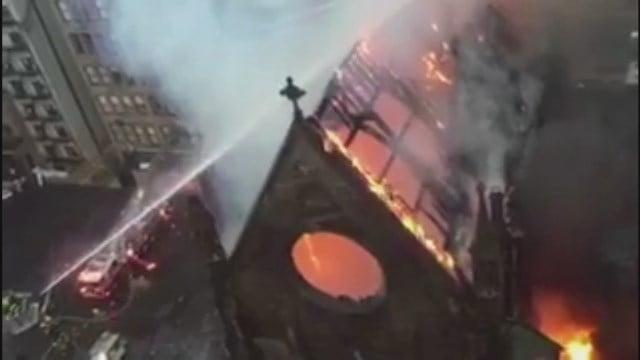 Massive fire rips through historic church in NY
