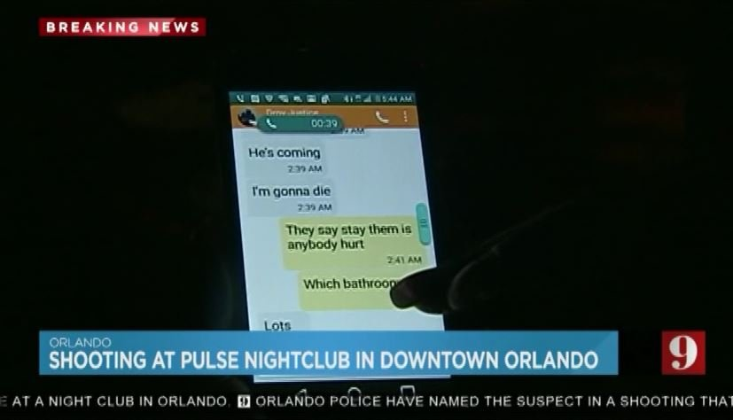 The mother of one of the hostages shows text messages she received during the shooting. (Source: WFTV/CNN)