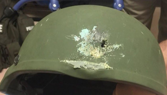 The helmet worn by an Orlando police officer who was shot. (Source: Orlando Police Department/CNN)