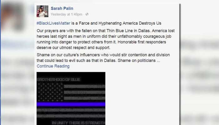 Sarah Palin took to social media to bash the Black Lives Matter movement in the wake of the Dallas police shootings. (Source: Facebook/CNN)