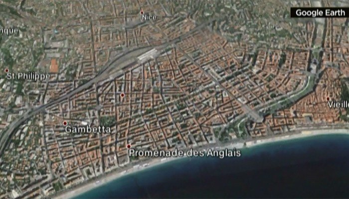 The attack happened at the Promenade Des Anglais, a large public area near the ocean in the seaside city. (Source: Google Earth)