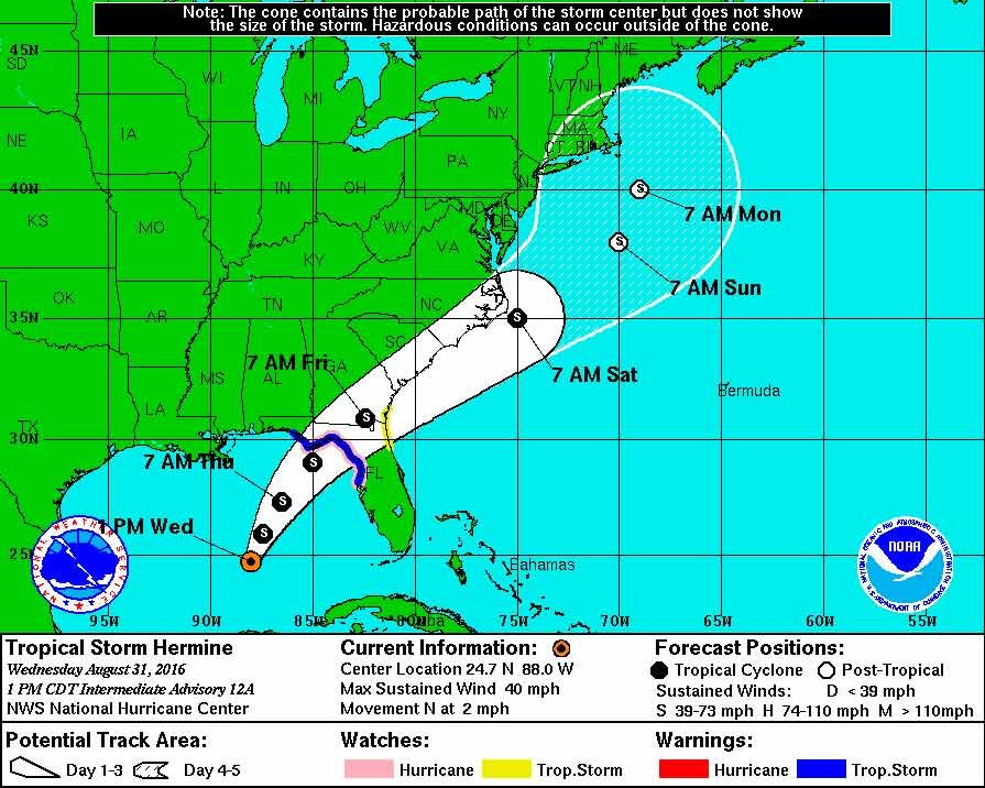 Tropical Storm Hermine update