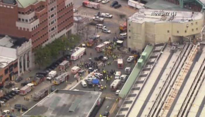 Commuter train hits New Jersey station; no word on injuries