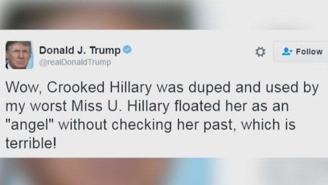 Trump attacks Clinton, Machado on Twitter
