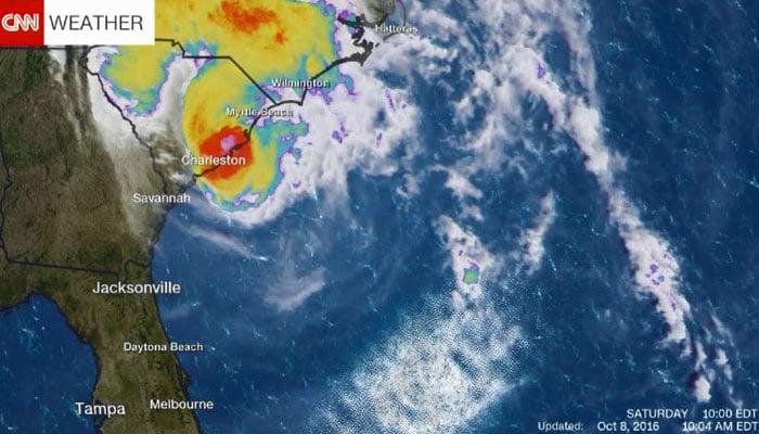 A satellite image shows Hurricane Matthew near the South Carolina coast. (Source: CNN)