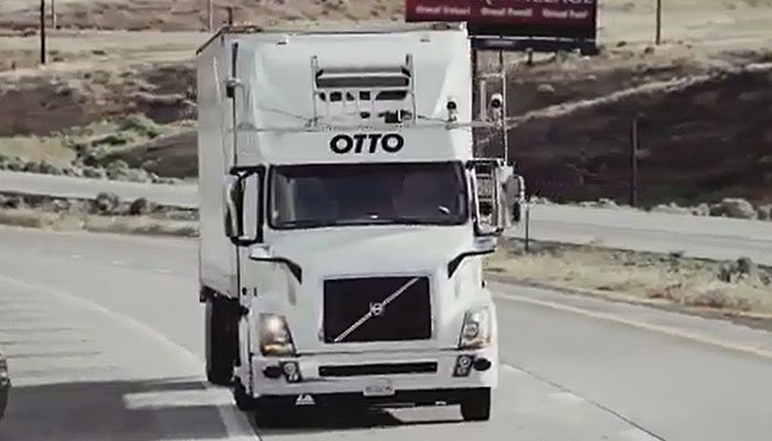 A company claims to have made the first delivery by a self-driving beer truck. (Source: Otto/CNN)