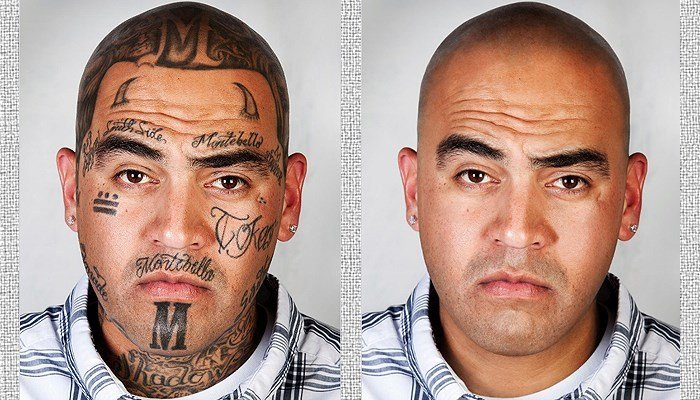 Ex-gang member David Pina allowed photographer Steven Burton to take a photograph, which Burton digitally altered to remove his tattoos. (Source: Steven Burton)