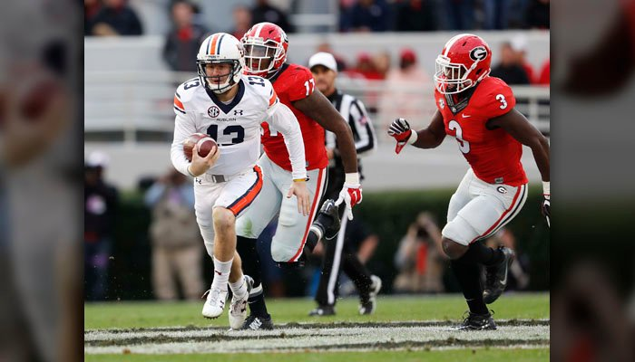 Auburn's Sean White was injured and had an unproductive day in Auburn's loss to Georgia. He's set to pay against Bama. (Source: AP/John Bazemore)