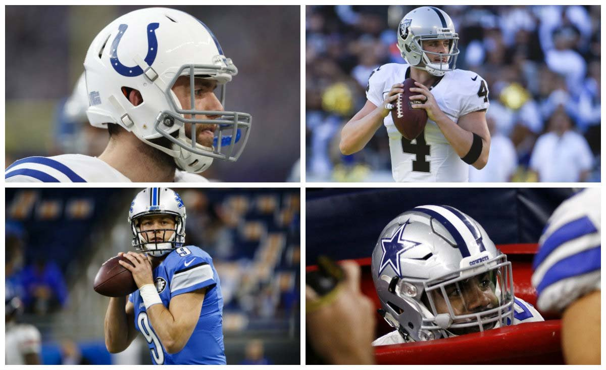 Colts-Raiders and Lions-Cowboys are two of the NFL's Week 16 games involving teams trying to make the playoffs or improve their position. (Source: AP/Charlie Neibergall/Denis Poroy/Rick Osentoski/Roger Steinman)