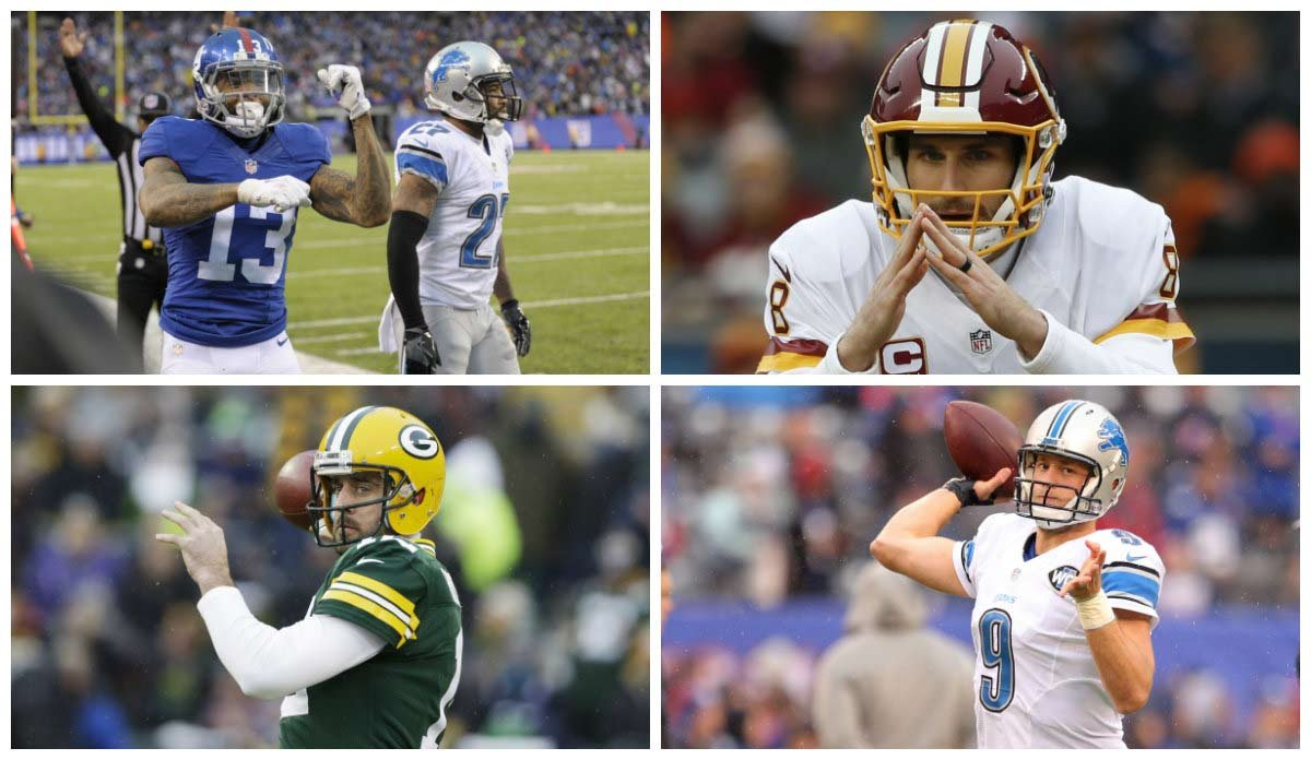 Giants-Washington and Packers-Lions will determine the final two playoff teams in the NFC on Sunday. (Source: AP/Bill Kostroun/Nam Y. Huh/Jeffrey Phelps/Brad Penner)