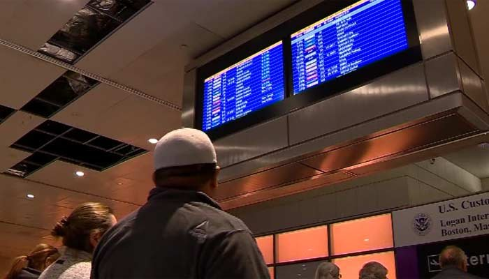 Passengers at Boston's Logan Airport were among those affected when a computer program from U.S. Customs went down. (Source: WCVB/CNN)