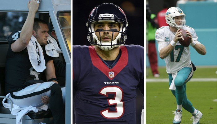 Oakland's Derek Carr, Houston's Tom Savage, and Miami's Ryan Tannehill will not be leading their teams into the NFL playoffs this weekend. (Source: AP/Wilfredo Lee/Eric Christian Smith)