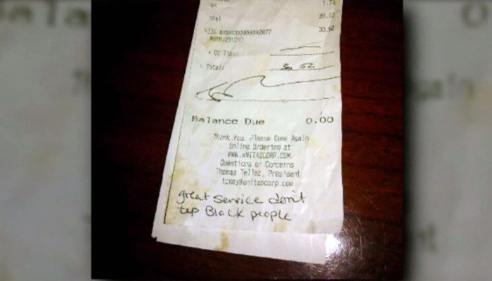 Waitress receives note instead of tip: 'Great service, don't tip black people'