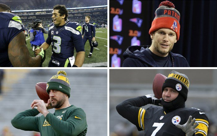 All four NFL divisional round playoff games feature a quarterback with a Super Bowl ring. From top left, clockwise: Russell Wilson of Seattle, Tom Brady of New England, Ben Roethlisberger of Pittsburgh, Aaron Rodgers of Green Bay. (Source: AP)