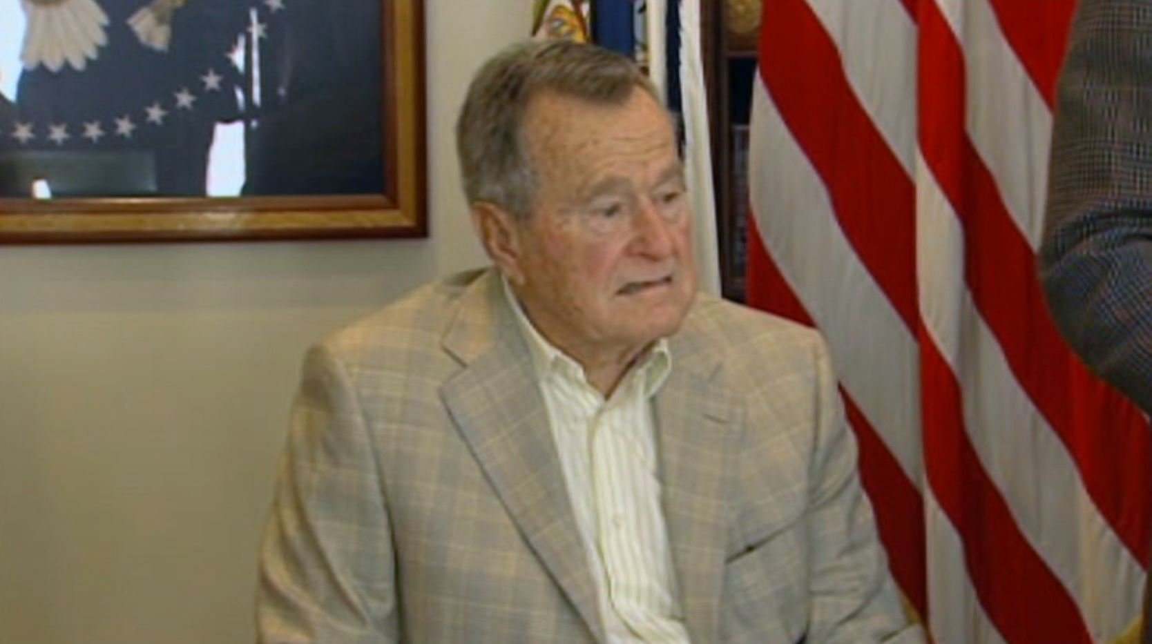 Former President George H. W. Bush was hospitalized Wednesday, but his condition has steadily improved. (Source: CNN)