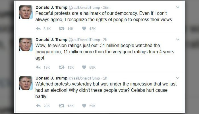 The morning of Trump's second full day in office was marked by his prominent Twitter presence. (Source: @realDonaldTrump/Twitter)