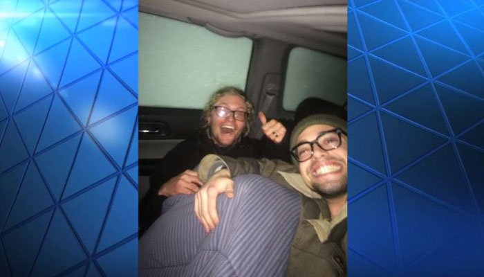 Two guys trapped in vehicle during avalanche pass the time with selfies
