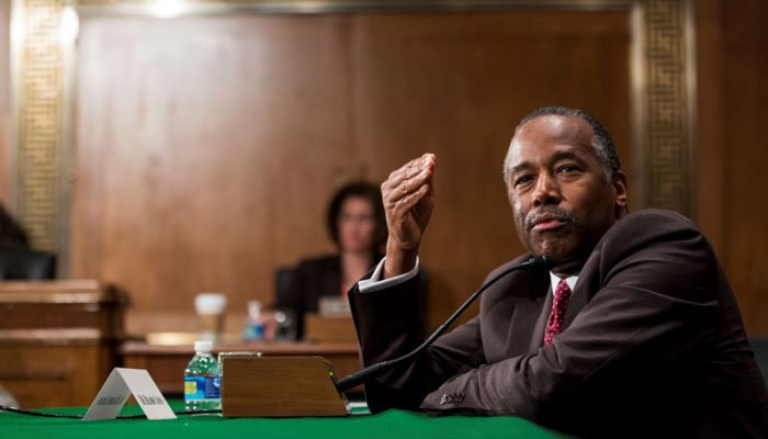 Dr. Ben Carson testifies on Capitol Hill in Washington, Thursday, Jan. 12, 2017, at his confirmation hearing before the Senate Banking, Housing, and Urban Affairs Committee. (Source: AP Photo/Zach Gibson)