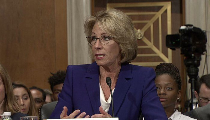 Betsy DeVos faces a close vote in the Senate for nomination as education secretary on Friday. (Source: CNN)