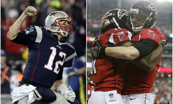 The New England Patriots and Atlanta Falcons will play to decide the NFL's champion in Super Bowl LI on Sunday in Houston. (Source: AP/Matt Slocum/John Bazemore)