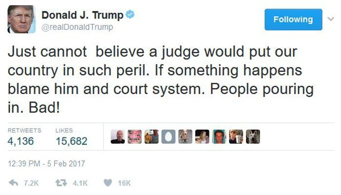 President Donald Trump continued his attack on judges who have ruled against his executive order Sunday. (Source: @realDonaldTrump/Twitter)