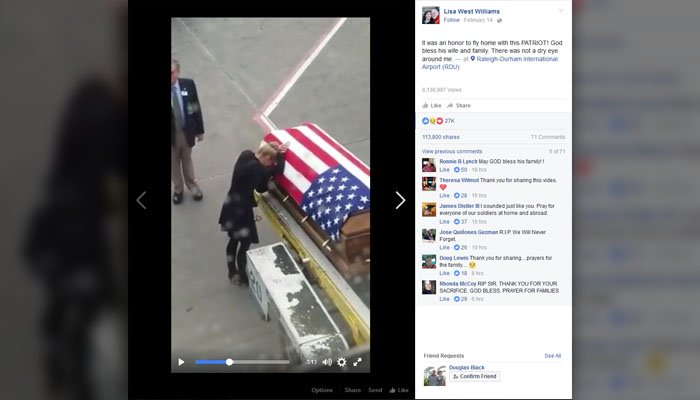 Heartbreaking video captures homecoming of soldier's casket