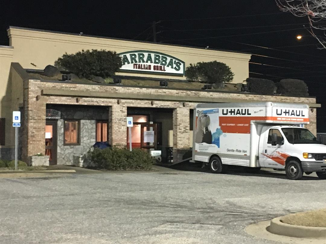 A moving truck is parked in front of a recently closed Carrabba's in Montgomery, AL. (Source: WSFA)