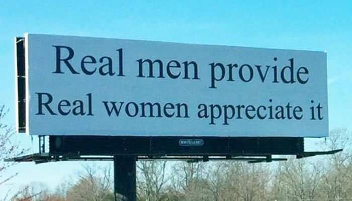 It's not clear who paid for the billboard's message. (Source: Facebook)
