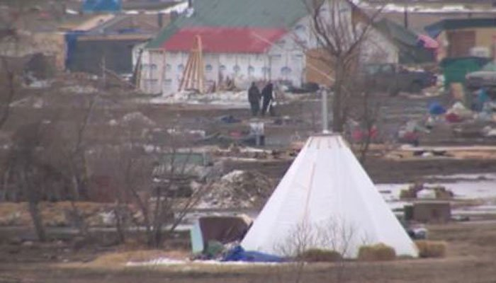 Equipment has been brought in to clean up the camp. (Source: WDAY/CNN)