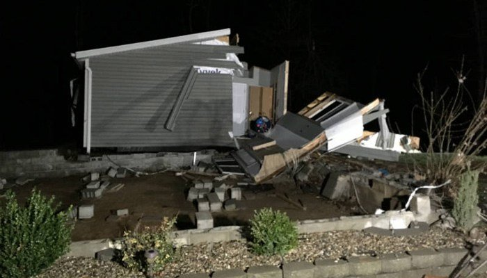 A home in Ava, IL, was ripped off of its foundation by a tornado on Tuesday evening. The family wasn't home. (Source: KFVS)