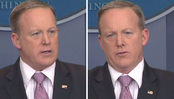 Sean Spicer's American flag pin before and after. (Source: CNN)