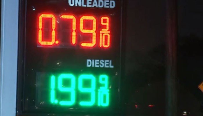 It's not fake, or even from the '70s, two Houston gas stations got into a bidding war and this was the result. (Source: KTRK via CNN)