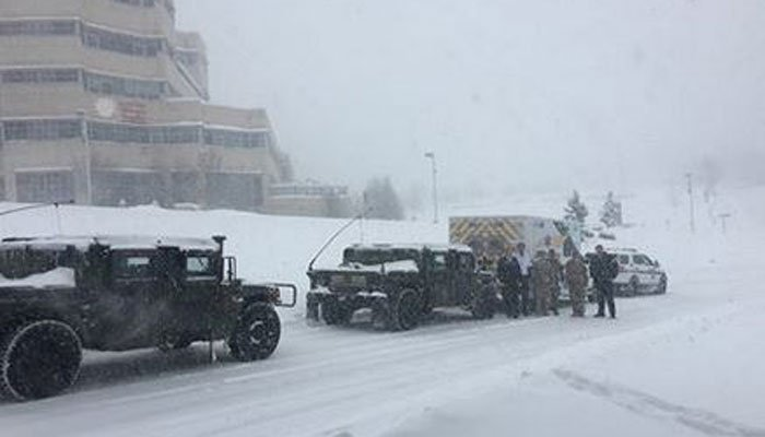 Snow piled up in Pennsylvania on Tuesday but it was no match for the National Guard and state police, who transported a toddler to surgery.  (Source: Pennsylvania State Police Facebook)