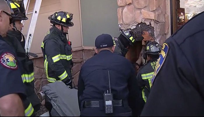 Workers at a sandwich shop in California reported to fire and rescue crews about someone yelling from inside a shaft. (Source: KRON/CNN)