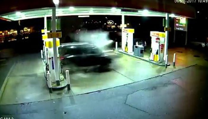 Uber Driver's SUV Crashes into Gas Station, Explodes in Ball of Flames