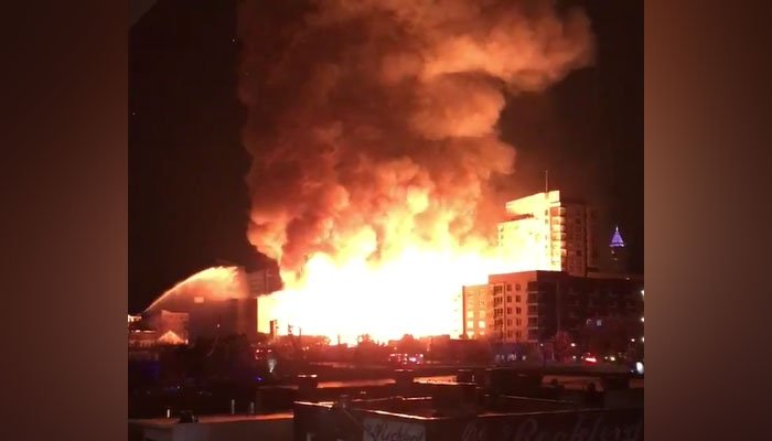 A major fire broke out in downtown Raleigh, NC, Thursday night. (Source: Jay Naki/Twitter)