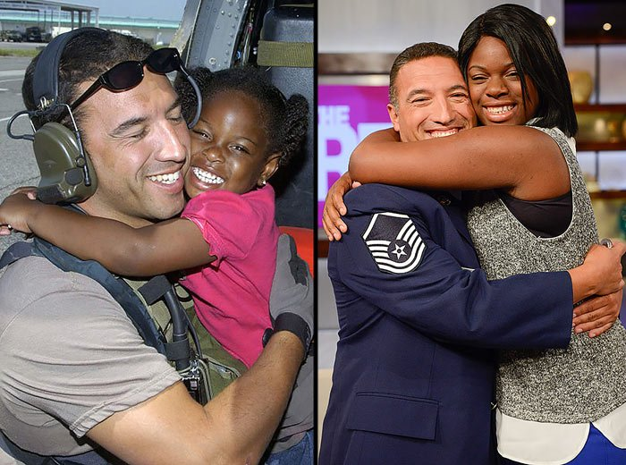 LaShay Brown became known as the 'Katrina girl' for a 2005 photo of her smiling as she hugged Master Sergeant Mike Maroney, then a helicopter pararescue specialist. (Source: (U.S. Air Force photo/Airman 1st class Veronica Pierce/Warner Bros/Erica Parise)