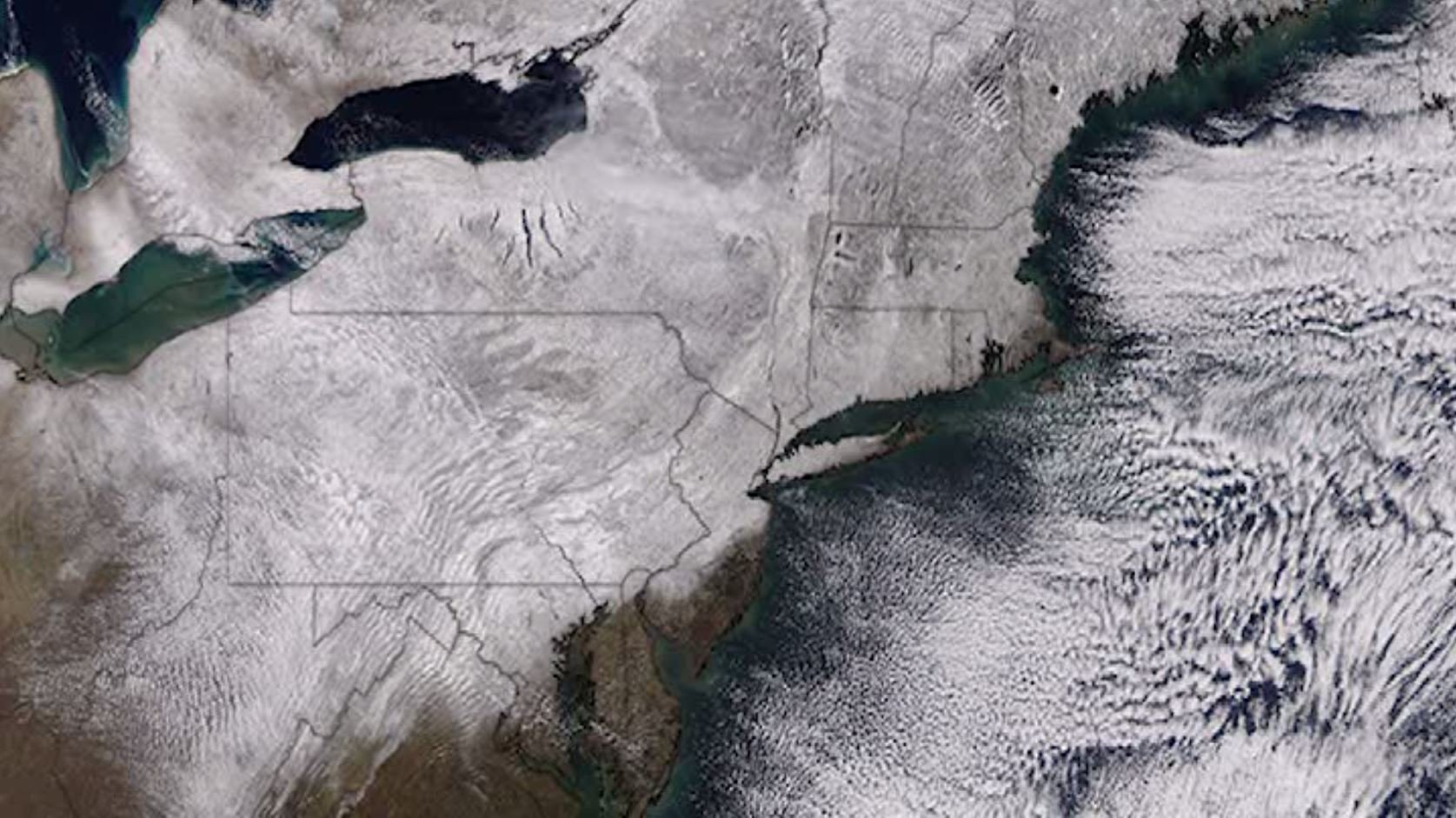 A winter storm covered much of the northeast in snow. (Source: NASA via CNN)