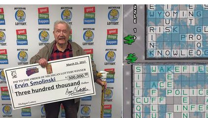 Ervin Smolinski said his age helped temper his reaction to owning the winning ticket. (Source: Michigan Lottery)