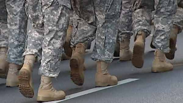 Soldiers march on Veterans Day in 2009 in Charlotte, NC. (Source: WBTV)