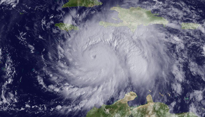 Hurricane Matthew is shown before its catastrophic Haiti landfall. Because of the high death toll associated with Matthew, the storm name has been retired. (Source: NOAA)