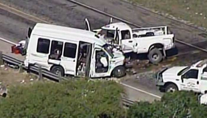 Twelve people have been killed in a crash between a church van and truck. (Source: KABB/WOAI/CNN