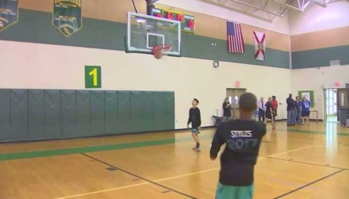 Jamarion Styles shot to fame after a Twitter post of him scoring a 3-pointer - despite his having no arms - took off. . (Source: WPEC/WSVN/CNN)