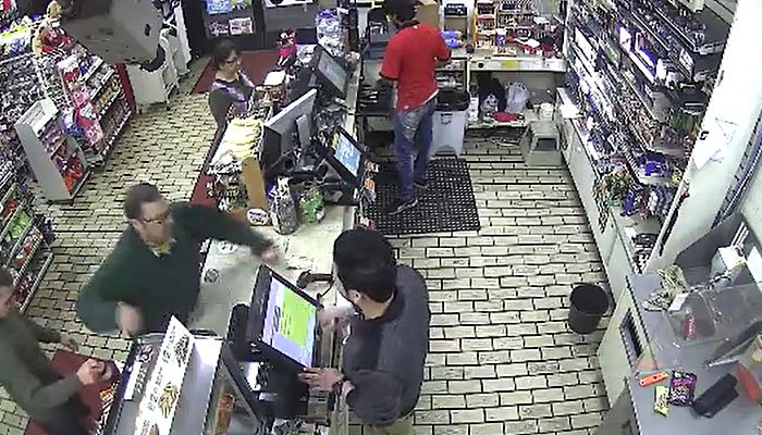 Man hits clerk, pushes cash registers off counter