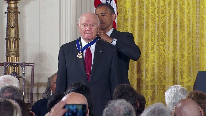 John Glenn received the Presidential Medal of Freedom from Pres. Barack Obama in 2012. (Source: CNN)