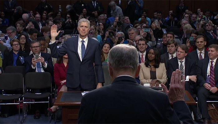 Neil Gorsuch swears before the Senate during his confirmation hearings. (Source: CNN)