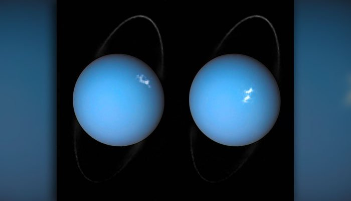 The white spots are enormous bursts of light, and the thin, fleecy ring of Uranus is visible, as well. (Source: NASA)